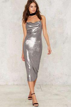 Perfect Storm Metallic Midi Dress - Metallics