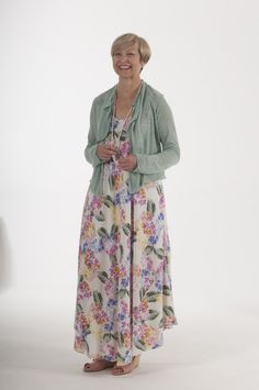 Dress in floral viscose with mint green shrug