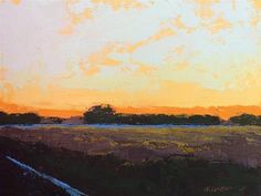 """Daily Paintworks - """"Minervaville, Winter Sunset"""" - Original Fine Art for Sale - © Mary Gilkerson"""