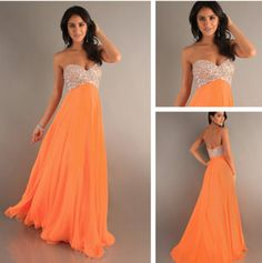 Camille La Vie Jersey Prom Dress with Beading in Orange | Fashion ...