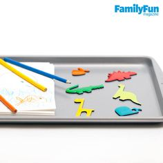 """Instant Lap Desk: """"Every summer our family makes the 17-hour drive from Ohio to New Hampshire,"""" says Cincinnati native Amanda Nobbe, mom of a 3-year-old and a toddler. """"We travel with cookie sheets and a plastic tote filled with playthings. Easily held on a lap, a cookie sheet can be used as a surface for coloring, playing with magnets and Bendaroos, or holding a snack. It's an inexpensive alternative to a car-seat lap desk, and when it's not in use, it fits in the back pocket of the seat."""""""