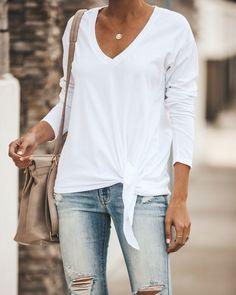 9d127f4cf360e4 Aubree Cotton Long Sleeve Knot Top - Optic White. VICI