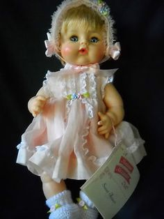 """Sweet Tears, 13"""",70s Mint in Pink Organdy Dress and Bonnet. Lord and Taylor Box"""