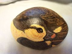 Duckling Baby Duck Painted Rock Brown and Yellow by missytodd1, $30.00