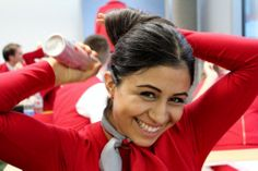 Austrian Airlines cabin crew styling #austrian #cabincrew