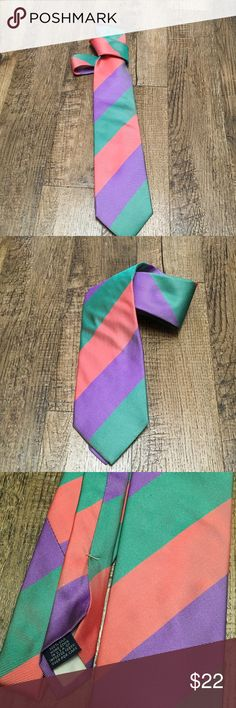 Lands END Striped Classic silk men's Tie BOLD LOOK 100% silk , hand sewn beautiful striped tie. GREEN, CORAL, PURPLE colors work well together. Take this tie from dressy to Denim dress down Fridays. MINT Condition. Bundle w / other ties shoes jackets or shirts for a super great price. 👑👔👑👔👑 Lands' End Accessories Ties