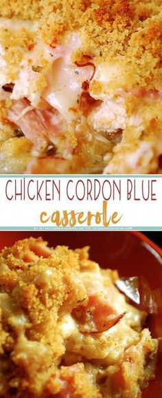 Indulge yourself with this easy, creamy, delicious Chicken Cordon Bleu Casserole for dinner. Kids, husbands, and wives a like are sure to LOVE this dish! recipes for dinner Chicken Cordon Bleu Casserole - TGIF - This Grandma is Fun Chicken Cordon Blue Casserole, Cordon Bleu Casserole, Chicken Cordon Blue Pasta, Crockpot Chicken Cordon Bleu, Recipe For Chicken Cordon Bleu, Recipe For Chicken Casserole, Cordon Blue Recipe, Recipe Chicken, Butter Chicken Rezept