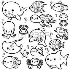 Vector illustration of cartoon sea animals - book of col . - Vector illustration of cartoon sea animals – coloring book – - Drawing Cartoon Characters, Cute Cartoon Drawings, Cute Animal Drawings, Kawaii Drawings, Drawing Cartoons, Doodle Characters, Sea Animals Drawings, Cartoon Sea Animals, Drawing Cartoon Animals