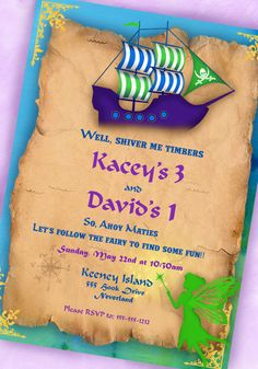 Pirate Fairy Party Invitation - Pirates and Fairies Collection - Twin BIrthday - Gwynn Wasson Designs - PRINTABLE. $15.00, via Etsy.