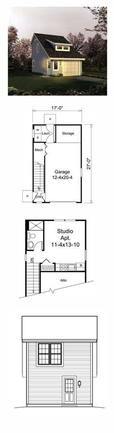 Garage Apartment Plan 95833 | Total Living Area: 342 sq. ft., 1 bedroom and 1 bathroom. Garage Area: 291 sq. ft. #garageapartment