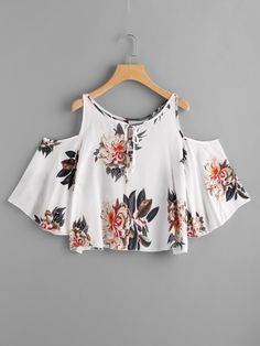 Open Shoulder Floral Print Random Tie Neck Top Cute Comfy Outfits, Pretty Outfits, Casual Outfits, Teen Fashion Outfits, Outfits For Teens, Summer Outfits, Off The Shoulder Top Outfit, Belly Shirts, Crop Top Outfits