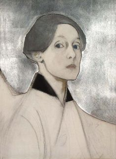 Helene Schjerfbeck, Self-Portrait with Silver Background, Watercolor with silver leaf, pencil and charcoal on paper, Turku Art Museum Helene Schjerfbeck, Art And Illustration, Self Portrait Artists, Female Painters, Kunst Online, Figurative Art, Female Art, Art History, Sketches