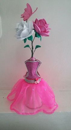 Handmade Ballerina Centerpiece (Made to order) Quinceanera Centerpieces, Bridal Shower Centerpieces, Glass Centerpieces, Wedding Vases, Rustic Wedding Centerpieces, Ballerina Centerpiece, Birthday Table Decorations, Wedding Wine Glasses, Giant Flowers