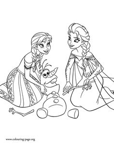 Anna and Elsa rearranging the snowy parts of Olaf's body - Frozen coloring page