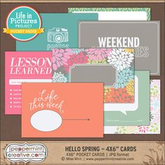 "LIP: Hello Spring 4x6"" Journal Cards - Peppermint Creative #pocketstyle #pocket #projectlife"