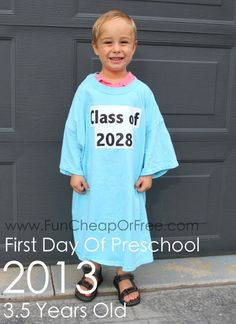 Cute/easy back to school tradition: Take a photo on the first day of school every year wearing the same shirt, ending on graduation day! Back-to-school tradition...watch how they grow! - http://funcheaporfree.com/2014/08/back-to-school-tradition/