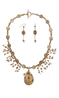 Single-Strand Necklace and Earring Set with Leopardskin Jasper Gemstone Focal and Beads and Swarovski Crystal Beads