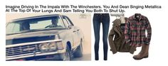 """""""Imagine Driving In The Impala With The Winchesters. You And Dean Singing To Metallica At The Top Of Your Lungs And Sam Telling You Both To Shut Up."""" by alyssaclair-winchester ❤ liked on Polyvore featuring rag & bone, Superdry, Mossimo Supply Co., imagine, supernatural, samwinchester and DeanWinchester"""