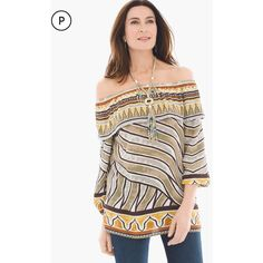 Chico's Petite Tribal Border Off-the-Shoulder Top (115 AUD) ❤ liked on Polyvore featuring tops, earthstone, petite, off the shoulder tops, petite tops, white top, off shoulder tops and three quarter sleeve tops