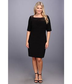 Adrianna Papell Plus Size Partial Tuck Long Sleeve Black - 6pm.com