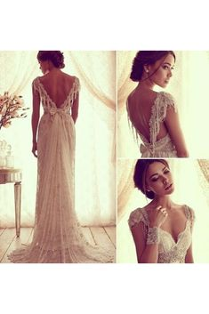 2015 Sexy Anna Campbell V Back Wedding Dresses Cheap Beach Wedding Dresses Beads Capped Sleeves Vintage Lace Bridal Gowns Chic Wedding Gowns Wedding Robe, Wedding Gowns, Ivory Wedding, Backless Wedding, Crystal Wedding, Wedding Ceremony, Dresses Elegant, Beautiful Dresses, Dresses Dresses
