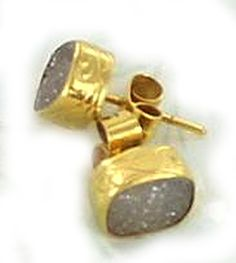 18K GOLD DRUSY CRYSTAL STUD EARRINGS from New World Gems