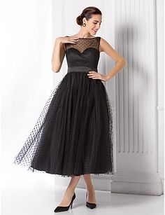 A-Line Illusion Neck Tea Length Tulle See Through Cocktail Party   Prom  Dress with Sash   Ribbon by TS Couture® 88e4906c24
