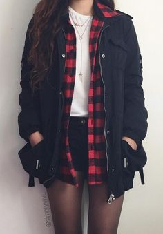 - ideas of fashion outfits Korean pants The Effective Pictures We Offer You About edgy outfits A - Cute Casual Outfits, Edgy Outfits, Mode Outfits, Grunge Outfits, Casual Shorts, Plaid Shirt Outfits, Red Flannel Outfit, Cute Flannel Outfits, Black Skirt Outfits