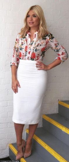 Holly Willoughby, 35, has made her favourite white Roland Mouret pencil skirt her go-to item in recent weeks, wearing it no less than six times since the end of February