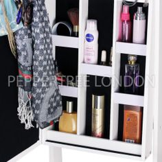 Jewelry Cabinet Two Mirrors Door Hanging & Wall Mount Jewelry ...