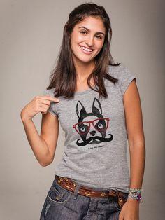 Camiseta Feminina Huck Dog Oculos Mescla - Feminino