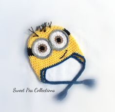 Minion Inspired Crochet Hat Ready To Ship 6-12 months Toddler Child Minion Ear Flap Hat Yellow and Blue Minion Hat Photo Prop by sweetpeacollections on Etsy