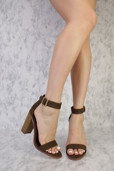 Olive Buckle Detailing Open Toe Single Sole Chunky High Heels Suede
