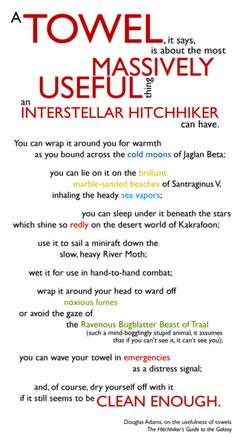 Don't panic, grab your towel and celebrate the life and work of the amazing Douglas Adams. The Hitchhiker, Hitchhikers Guide, Douglas Adams, Sr1, Guide To The Galaxy, Don't Panic, Meaning Of Life, Book Fandoms, Book Authors