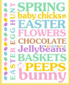 10 Free Printables - Easter Subway Art - The Wilderness Wife - Cooking, crafting - love this one from Printabelle