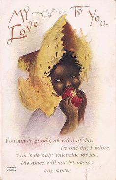 ༻✿༺ ❤️ ༻✿༺ Racist!! Valentine's Greeting Black Americana Vintage by CarpeManana ༻✿༺ ❤️ ༻✿༺