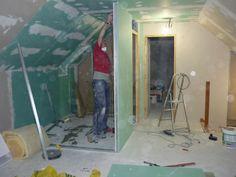 pose des murs en placo de la salle de bains