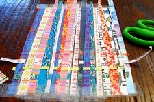 Weaving paper with kids. Beautiful.Also, try fabric scraps?
