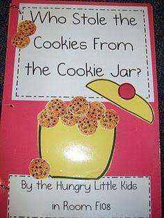 "Make a ""Who Stole the Cookies from the Cookie Jar"" class book, and ""The Kissing Hand"" class book. Preschool Books, Kindergarten Writing, Kindergarten Literacy, Kindergarten Classroom, Book Activities, Classroom Activities, Preschool Ideas, Classroom Ideas, Teaching Ideas"