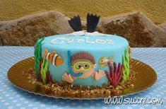 Tarta acuario - Aquarium cake - Sea cake - Scuba diving cake