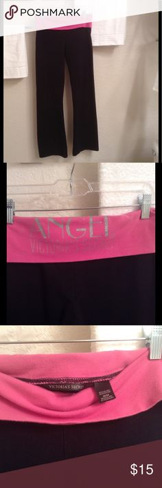 Victoria's Secret Flare Sweatpants These black pants have a pink foldover waist with the Angels logo on the back in a sparkly silver.  87% Cotton/13% Elastane.  The waist measure 30 inches & the inseam is 30.5 inches.  Gently worn. . A little pilling on the inside waist otherwise no flaws, stains, etc. . Victoria's Secret Pants Boot Cut & Flare