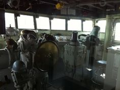 Starboard side of pilothouse, USS Joseph P. Kennedy, Jr., Battleship Cove, Fall River, MA, July 2014 (Photo: Sarah Sundin)