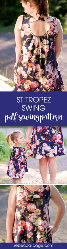 Matching mommy and me PDF sewing pattern for a top and dress. Sizes newborn to 12 years and ladies XXS to 5XL.
