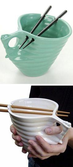 Noodle bowl with chopstick holder! #product_design
