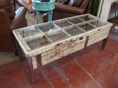 Black Dog Salvage - Architectural Antiques & Custom Designs: Window Frame Coffee Table made by Salvage Dawgs father/daughter Mike and Grace Whiteside!