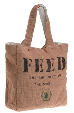 The FEED 1 bag is a stylish, well-designed and reversible burlap and 100% organic cotton bag that has a mighty mission – to help raise awareness and funds for child hunger. When you purchase a FEED 1 bag, you will guarantee that ONE child is fed in school for ONE full year through the United Nations World Food Program. Incredible!
