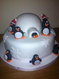 Traditional fruit cake, fondant penguins.