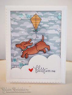 Dachshund with Kite Card by Yukari Yoshioka   Delightful Doxies Stamp set by Newton's Nook Designs
