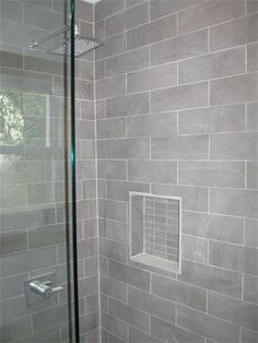 Nice gray shower tile with Moen Shower Faucet… Gray Shower Tile, Grey Bathroom Tiles, Bathroom Wall Decor, Bathroom Renos, Small Bathroom, Grey Tiles, Bathroom Storage, Bathroom Ideas, Tiled Bathrooms