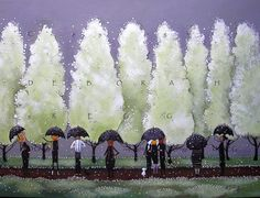 Pear Blossom Avenue an Original Spring Pear Trees Garden Club Umbrellas Rain Painting by Deborah Gregg